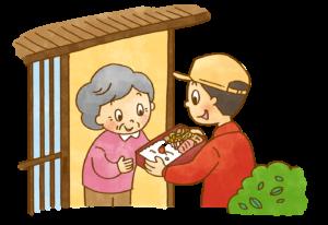 高齢者向けの配食サービスを届けるスタッフ